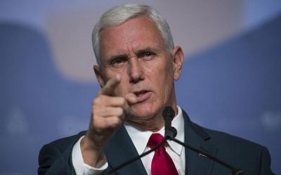 Republican vice presidential candidate Indiana Gov. Mike Pence speaks to the Value Voters Summit in Washington, Saturday, Sept. 10, 2016. (AP Photo/Molly Riley).