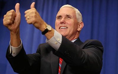 Republican vice presidential candidate Mike Pence attends a campaign rally at The Villages, Florida, on Saturday, Sept. 17, 2016. (Stephen M. Dowell/Orlando Sentinel via AP)