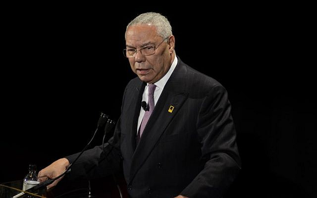 In this photo taken Nov. 9, 2011, former Secretary of State Colin Powell speaks in New York. (AP Photo/Eric Reichbaum)