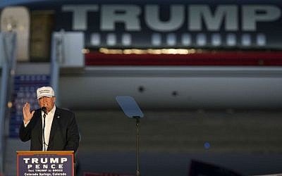 Republican presidential candidate Donald Trump speaks during a campaign rally, Saturday, Sept. 17, 2016, in Colorado Springs, Colorado. (AP Photo/Evan Vucci)