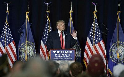 Republican presidential candidate Donald Trump speaks at a campaign rally, Thursday, Sept. 29, 2016, in Bedford, New Hampshire. (AP Photo/John Locher)