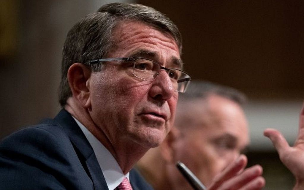 Defense Secretary Ash Carter, accompanied by Joint Chiefs Chairman Gen. Joseph Dunford, testifies on Capitol Hill in Washington, September 22, 2016. (AP Photo/Andrew Harnik, File)