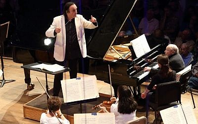 Charles Dutoit conducts and Menahem Pressler plays piano with the Boston Symphony Orchestra. (Photo: Hilary Scott, courtesy BSO)