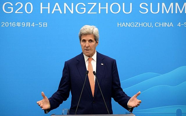 US Secretary of State John Kerry speaks at a press conference in Hangzhou, China, during the G20 Leaders Summit on September 4, 2016. (Wang Zhao/Pool Photo via AP)