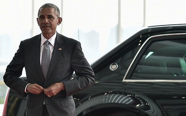US President Barack Obama arrives at the Hangzhou Exhibition Center to participate in G-20 Summit in Hangzhou, China, September 4, 2016. (Etienne Oliveau/Pool Photo via AP)
