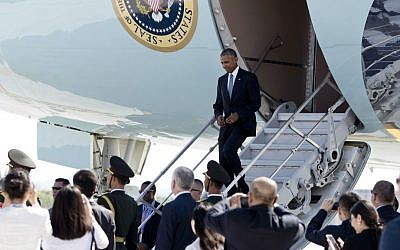 US President Barack Obama arrives on Air Force One at Hangzhou Xiaoshan International Airport in Hangzhou in eastern China's Zhejiang province, Saturday, Sept. 3, 2016. (AP Photo/Carolyn Kaster)