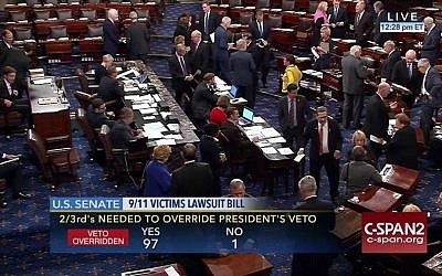 This frame grab from video provided by C-SPAN2 shows the floor of the Senate on Capitol Hill in Washington, Wednesday, Sept. 28, 2016, as the Senate acted decisively to override President Barack Obama's veto of Sept. 11 legislation, setting the stage for the contentious bill to become law despite flaws that Obama and top Pentagon officials warn could put US troops and interests at risk. (C-SPAN2 via AP)