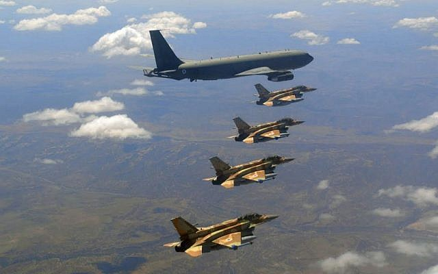 Israel Air Force F-16 fighter jets and a refueling plane fly in formation over Nevada during the United States Air Force's Red Flag exercise in August. (IDF Spokesperson's Unit)