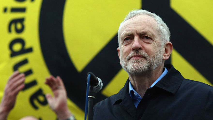 Labour Party leader Jeremy Corbyn speaking after a Stop Trident march though central London, Feb. 27, 2016. (Dan Kitwood/Getty Images via JTA)
