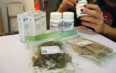 Medical marijuana at the Tikkun Olam dispensary in Tel Aviv on September 1, 2016. Along with guidance from Tikun Olam's specially trained nursing staff, patients can decide to purchase their prescription in flower form, pre-rolled joints, pills, or tinctures. (Melanie Lidman/Times of Israel)