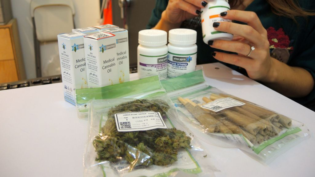 Medical marijuana at the Tikun Olam dispensary in Tel Aviv on September 1, 2016. Along with guidance from Tikun Olam's specially trained nursing staff, patients can decide to purchase their prescription in flower form, pre-rolled joints, pills, or tinctures. (Melanie Lidman/Times of Israel)