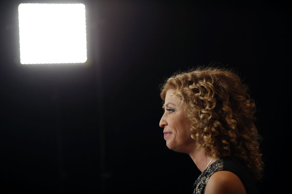 Debbie Wasserman Schultz sitting for an interview in the spin room inside the Wynn Resorts Ltd. resort and casino before the first Democratic presidential debate in Las Vegas, October 13, 2015. (Luke Sharrett/Bloomberg via Getty Images/JTA)
