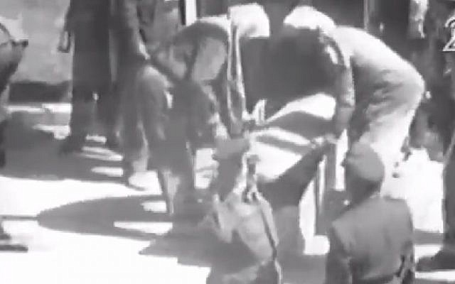 Screenshot from footage showing Israeli spy Eli Cohen placed in a coffin after his execution by hanging in Damascus, Syria on May 18, 1965.