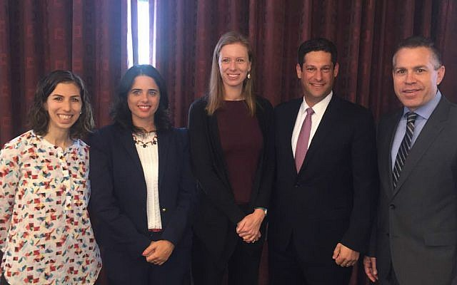 Public security minister Gilad Erdan (right), and Facebook's Joel Kaplan and Monika Bickert together with Justice Minister Ayelet Shaked at meeting on September 12, 2016 (Courtesy)