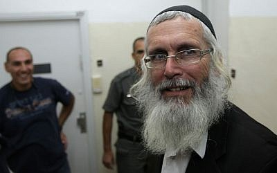 Rabbi Yigal Shendorfi in court in 2008 after being arrested on suspicion of organizing youth to riot against security forces. (Kobi Gideon / FLASH90)