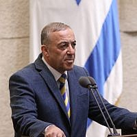 Kulanu parliament member Akram Hasson during his swearing-in as a member of the Knesset in Jerusalem on February 1, 2016. (Issac Harari/Flash90)
