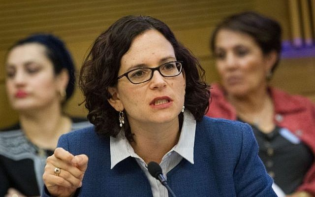 Kulanu parliament member Rachel Azaria seen at a committee meeting in the Knesset, March 08, 2016. (Miriam Alster/FLASH90)