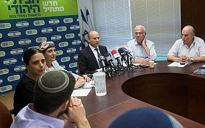 Jewish Home chairman Naftali Bennett speaks during a party faction meeting at the Knesset, on June 20, 2016. (Miriam Alster/Flash90)