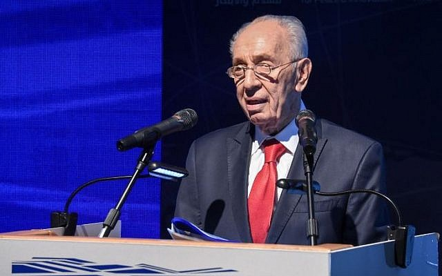 Former president Shimon Peres at the launch of a new innovation center at the Peres Center for Peace in Jaffa, on July 21, 2016. (Yair Sagi/Pool/Flash90)