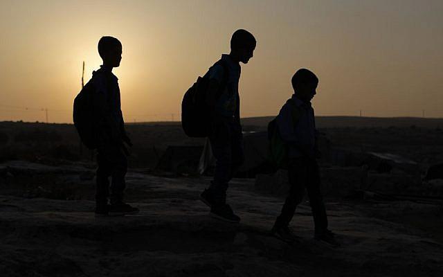 Students making their way to school on September 1, 2016. (Illustrative photo: Wisam Hashlamoun/Flash90)