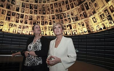 Australian Minister of Foreign Affairs, Julie Bishop MP, visits the Yad Vashem Holocaust memorial museum in Jerusalem on August 4, 2016. (Issac Harari/Flash90)