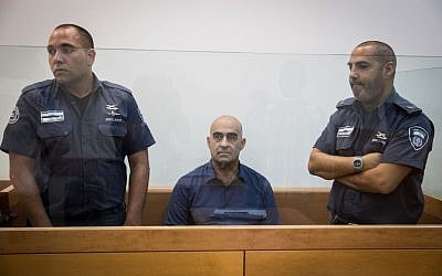 Head of the regional council of the Arab town of Julis, Salman Amar, seen at the Rishon Leztion court after shooting to death a gardening contractor on September 6, 2016. (Nati Shohat/Flash90)