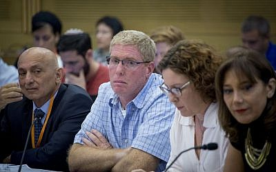 Danya Cebus CEO Ronen Ginsburg, second left, at a Knesset hearing on September 8, 2016. (Yonatan Sindel/Flash90)