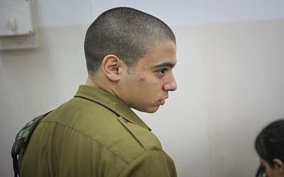 IDF soldier Elor Azaria, the Israeli soldier who shot a disarmed Palestinian terrorist in Hebron in March, at a court hearing at a military court in Jaffa, September 11, 2016. (Flash90)