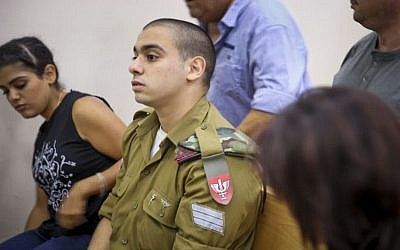 IDF Sgt. Elor Azaria, the Israeli soldier who shot dead a Palestinian attacker in Hebron, seen during a court hearing at a military court in Jaffa, September 11, 2016. (Flash90)