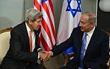 Prime Minister Benjamin Netanyahu meets with US Secretary Of State John Kerry in New York on September 23, 2016. (Kobi Gideon/GPO)