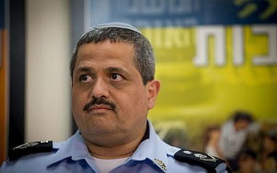 Chief of Police Roni Alsheich speaks with the media about the preparations of the Israeli police for the funeral of former president Shimon Peres at the police headquarters in Jerusalem September 28, 2016. (Yonatan Sindel/Flash90)