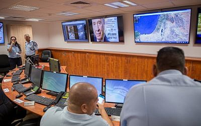 Ahead of the funeral for former president Shimon Peres, Israeli police officers set up a command center  at police headquarters in Jerusalem on September 28, 2016. (Yonatan Sindel/Flash90)