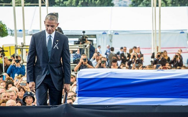 US President Barack Obama seen at the state funeral ceremony for former Israeli president Shimon Peres at Mount Herzl, in Jerusalem, on September 30, 2016. (Emil Salman/POOL)