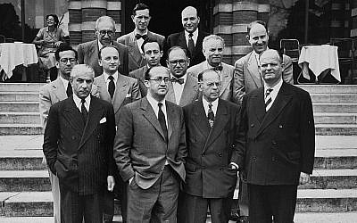 Illustrative: Members of the Conference on Jewish Material Claims in Luxembourg for the signing of the Reparations Agreement between the German Federal Republic, the State of Israel, and the Conference on Jewish Material Claims, in 1952.  Among those pictured is Benjamin Ferencz (second row from the front, second from the left). (Ben Ferencz/USHMM)