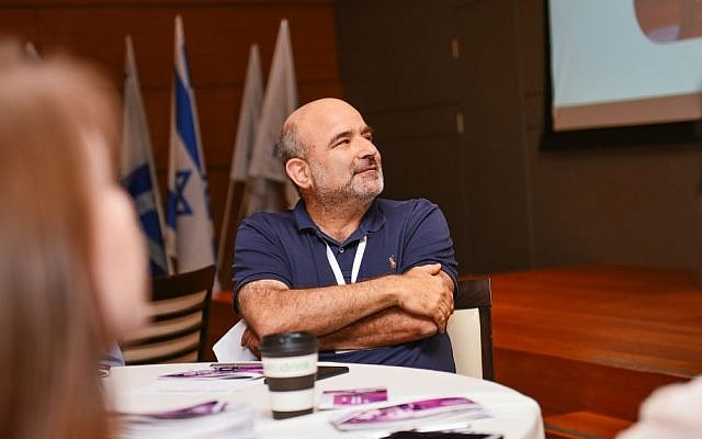 Nir Lempert, chairman of the 8200 Alumni Association at the Hybrid event in Tel Aviv (Courtesy)