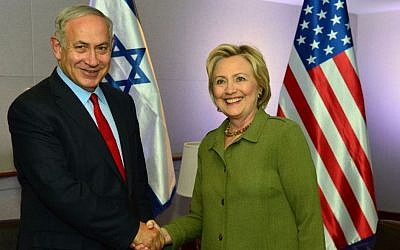 Prime Minister Benjamin Netanyahu meets with Democratic nominee Hillary Clinton in New York, September 25, 2016 (Kobi Gideon/GPO)