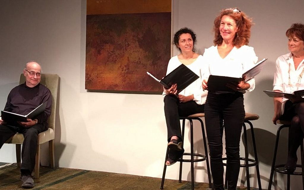 Lisa Robins shares a story about dating a Rabbi who is in her 40s. Lisa Cirincione, Kate Zentall, and Robert Trebor listen. (Courtesy)