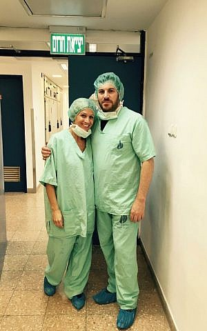 Paul Charney with his fiance Anzia Smith in an Israeli hospital. (Courtesy)