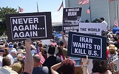 Hundreds of people protesting against the Iran nuclear deal on July 26, 2015, in Los Angeles, California. (Peter Duke)