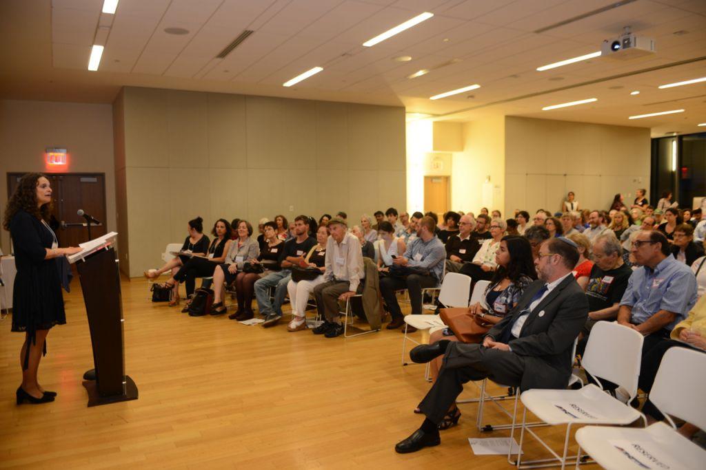 Rabbi Jennie Rosenn, HIAS Vice President of Community Engagement, speaks out on behalf of refugees. (Gili Getz/HIAS)