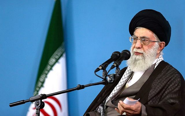 Supreme Leader Ayatollah Ali Khamenei delivers a speech during a meeting in Tehran, September 9, 2015. (Office of the Iranian Supreme Leader via AP and JTA)