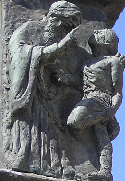 A detail of the Knesset Menorah, Jerusalem: Hillel the Elder teaching a man the meaning of the whole Torah while he stands on one foot (Deror Avi / Wikipedia)