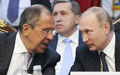 Russian President Vladimir Putin, right, and Russian Foreign Minister Sergey Lavrov at a CIS (Commonwealth of Independent States) summit in Bishkek, Kyrgyzstan, Saturday, Sept. 17, 2016. (Mikhail Klimentyev/Sputnik, Kremlin Pool Photo via AP)