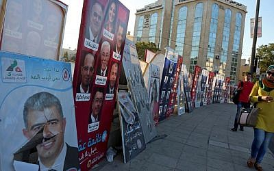 Election posters are on display in the Jordanian capital of Amman, September 18, 2016. (AP/Raad Adayleh)