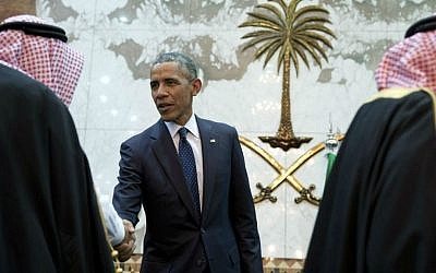 In this Jan. 27, 2015 file photo, President Barack Obama participates in a receiving line with the Saudi Arabian King, Salman bin Abdul Aziz, at Erga Palace in Riyadh, Saudi Arabia. (AP Photo/Carolyn Kaster, File)