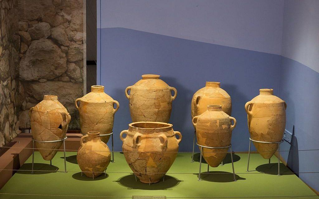 Ceramic jars from Khirbet Qeiyafa on display at The Bible Lands Museum. (Bible Lands Museum)