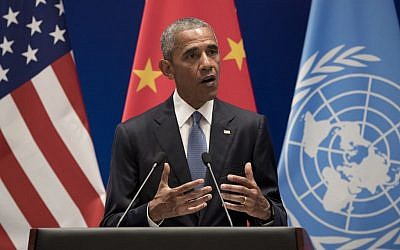 US President Barack Obama speaks during a climate event at the Ruyi Hall at West Lake State Guest House in Hangzhou in eastern China's Zhejiang province, Saturday, September 3, 2016. (AP/Carolyn Kaster)