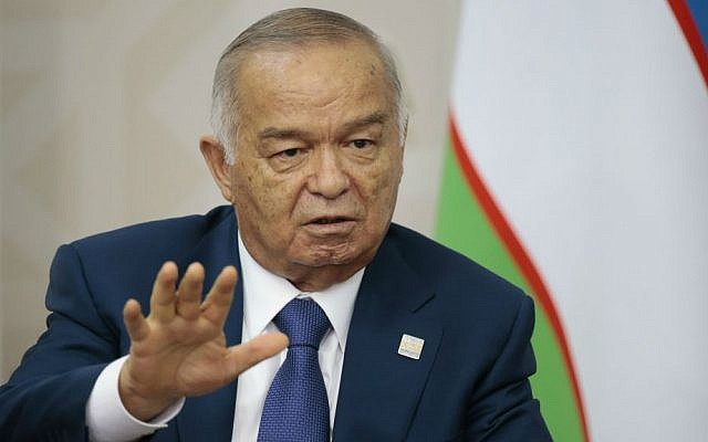 In this file photo taken on Friday, July 10, 2015, Uzbekistan's President Islam Karimov gestures at the Shanghai Cooperation Organization summit in Ufa, Russia. (AP/Ivan Sekretarev)