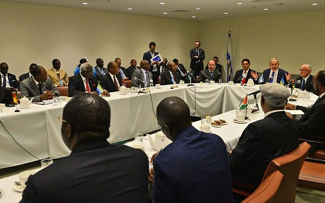 Prime Minister Benjamin Netanyahu meets leaders and representatives of African states on the sidelines of the UN General Assembly in New York, September 22, 2016. (Kobi Gideon/GPO)