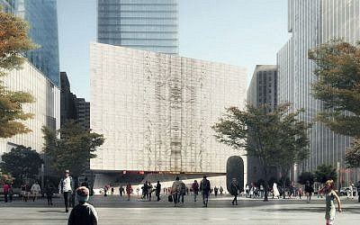 A rendering of a 90,000-square-foot performing arts center to be built at the site of the Sept. 11 attacks in Manhattan. (Credit: REX via JTA)